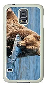 Bear Catching Fish Masterpiece Limited Custom PC White Case for Samsung Galaxy S5 I9600 by Cases & Mousepads