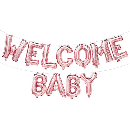 Welcome Baby Balloon Banner | Rose Gold Baby Shower Decorations for Girl | Gender Reveal Party Supplies | 16inch