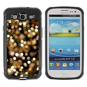 Fuerte Suave TPU GEL Caso Carcasa de Protección Funda para Samsung Galaxy S3 I9300 / Business Style lights night city gold glitter focus blurry