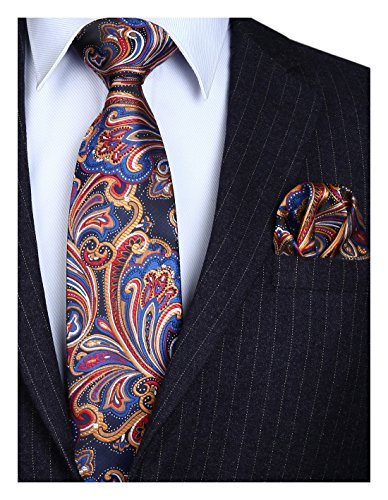 HISDERN Extra Long Floral Paislry Tie Handkerchief Men's Necktie & Pocket Square Set (Orange & Dark Blue)