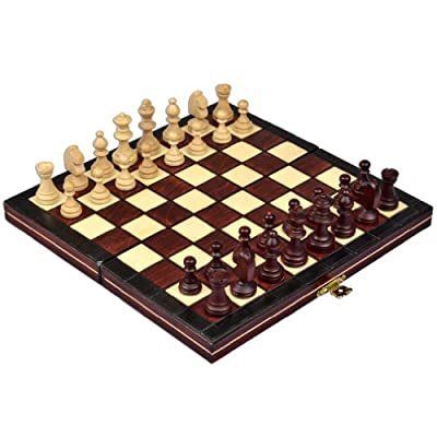 "Travel Magnetic Chess Set w/ Wooden 9.25"" Board and Chessmen"