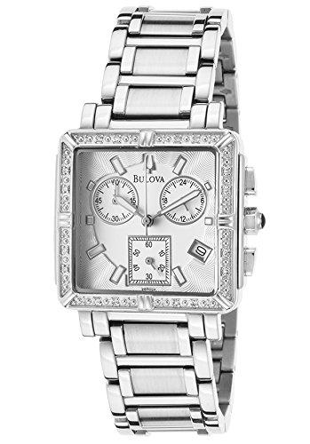 Bulova 96R000-Sd Women's Chrono Diamond Stainless Steel Silver-Tone Dial Watch