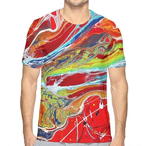 - KIIKISS HUG Warm Color Pigment Flow Men's Casual Short Sleeve T Shirt Crewneck Graphic Tee Shirts White