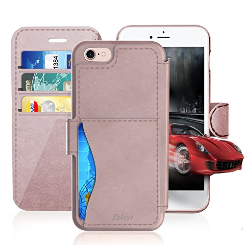 iPhone 6/6S Plus Leather Wallet Plastic Case with Cards Slot and Metal Clip, TAKEN Apple i Phone 6S Flip Cover, Vintage and Fashion, Durable and Shockproof Holster, 5.5 Inch (Rose Gold) 2014/2015