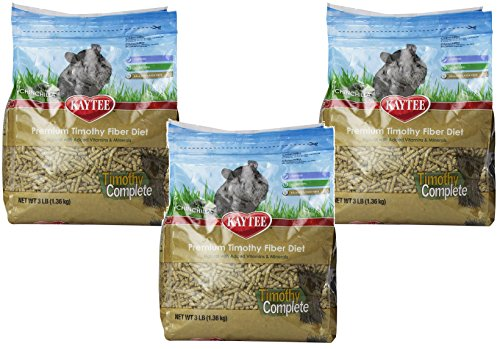 (3 Pack) Kaytee Timothy Complete Chinchilla Diet Food, 3-Pounds Bags (Kaytee Chinchilla Food)