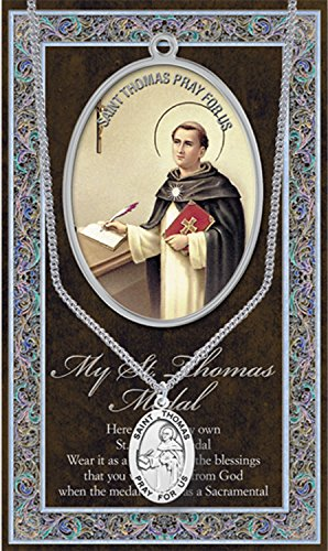 (13 7/18) SAINT THOMAS Pewter Medal With SS Chain and Prayer Card w Copyrighted Paul Herbert Blessing PATRONA (Pewter Patron Saint Medal)