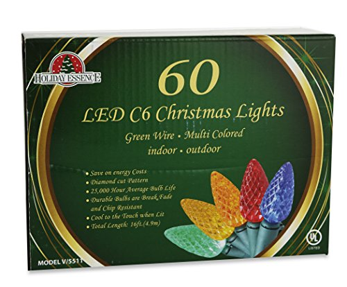 Led-Christmas-Multi-Color-Lights-60-C6-Faceted-LED-Decorative-String-Light-Set-Indoor-and-Outdoor-Use–Energy-Efficient-LED-Bulbs-with-Green-Wire-UL-Listed-Professional-Grade-by-Holiday-Essence