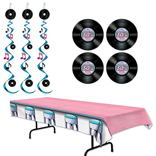 Fabulous 50s Rock n Roll Dangling Whirls Record Cutouts Soda Shop Tablecover 8 Piece Bundle