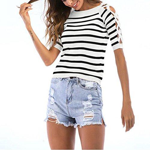 de Cross diario uso Camisa Criss camisa Chic mujer diario corta blanca manga de Zqq0TI