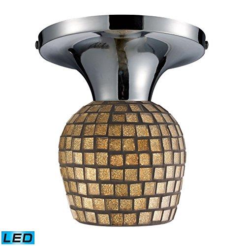 - Elk Lighting 10152/1PC-GLD-LED Celina 1-Light Polished Chrome and Gold Leaf Glass-LED Offering Up to 800 Lumens (60 Semi Flush Mount,