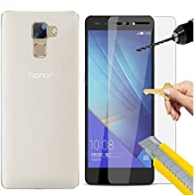 Huawei Honor 7 case,Desoon [Ultra Slim TPU Case] Huawei Honor 7 Case [Transparent] With Huawei Honor 7 screen protector bulletproof glass