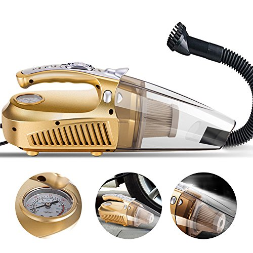 Cheyoll Car Portable Lightweight Hand Vacuum Cleaner 4 in 1 12 V 80W Wet Dry Auto and Dust Brush(Golden) (Car Vacuum And Blower compare prices)