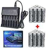 Lot 4000mAh 3.7V 18650 Rechargeable Li-ion Flat Top Battery Cell for Flashlight (20x Battery + 1x 6 Slot Charger)