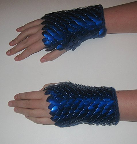 Scale Gauntlets - Deep Blue In Dragonhide Knitted Armor Choose your size