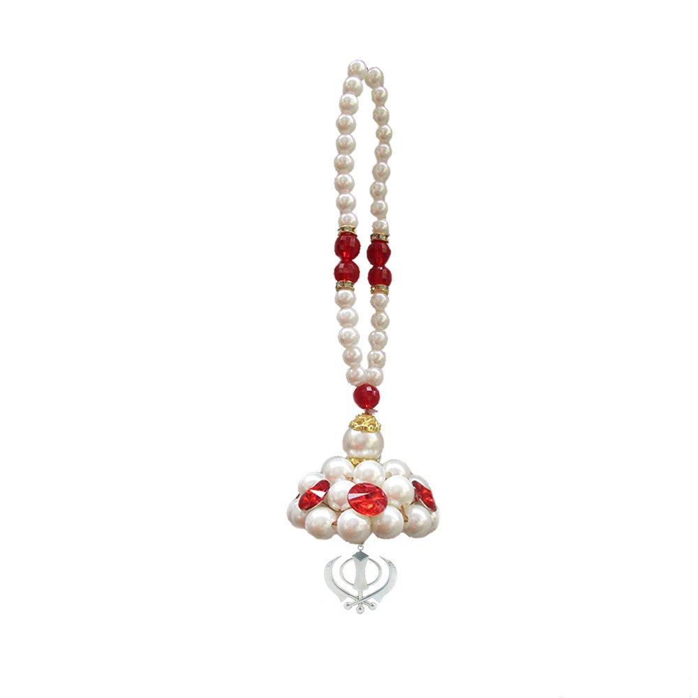 GALAXY KARMAA Silver Color Khanda For Car Dashboard With Pearls