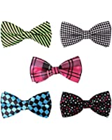 BMC 5 pc Mens Mixed Color Assorted Pattern Pre-Tied Adjustable Neck Tie Bowties