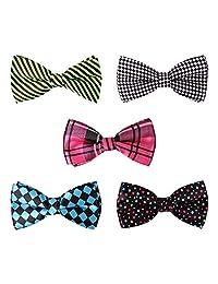 BMC 5 pc Mens Formal Mixed Pattern Pre-Tied Adjustable Neck Tie Bowties - Set 1