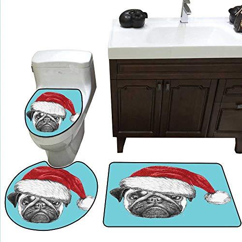 (Pug Bath Rug Set Dog Portrait with Santa Hat Christmas Imagery Fun Illustration on Blue Background Toilet Floor mat Set Blue Ruby Grey)