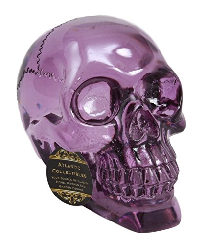 Atlantic Collectibles Pirate Cave Tomb Treasure Purple Acrylic Resin Translucent Skull Decorative Figurine ()