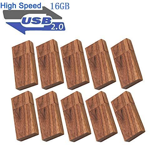 USB 16GB Flash Drive 10 Pack, EASTBULL Wood Memory Stick Thumb Drives Gig Stick USB2.0 Pen Drive for Fold Digital Date Storage, Zip Drive, Jump Drive, USB Stick
