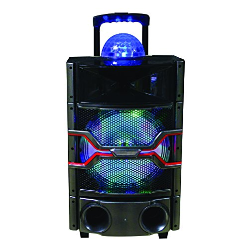 SuperSonic IQsound Wireless Bluetooth Portable DJ Speaker System, 12-Inch High Efficiency Woofer, LED and Disco Lights - System Professional Dj Mp3