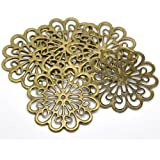 Rockin Beads Brand, 38 Antique Brass Filigree Flower Focal Components 60mm (2 3/4 Inch), Jewelry Wrapping Findings