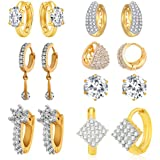 Jewels Galaxy White American Diamond Combo Of 7 Hoop Earrings For Women