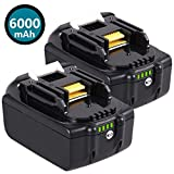 2 pack 6.0Ah 18V BL1860B Lithium-Ion Replacement Battery for Makita BL1815 BL1830 BL1820 BL1850 BL1840 BL1850B-2 LXT-400 BL1845 194205-3 BL1860 194204-5 18-Volt Cordless Power Tools Batteries