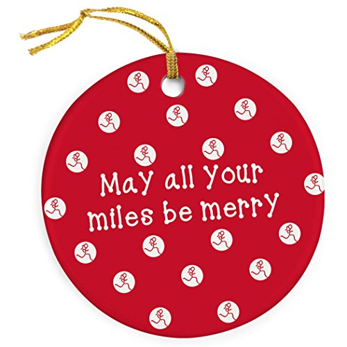 Gone For a Run May All Your Miles Be Merry Ornament | Running Porcelain Ornaments | Red (Ornament Runner Christmas)