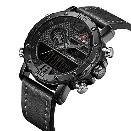 (Mens Waterproof Sports Digital Leather Band Wrist Watch Multi-Function Display Backlight Watches (9134Black))