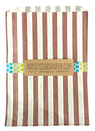Brown Striped Paper Bags - 8