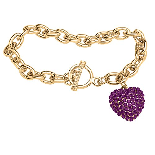 (Lux Gold Tone Simulated Birthstone Puffed Heart Charm Bracelet 8