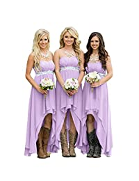 Fanciest Women' Strapless Beaded High Low Bridesmaid Dresses Wedding Party Gowns Turquoise