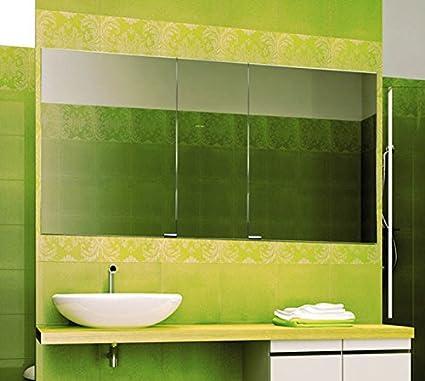 SIDLER Diamando 59u0026quot; Mirrored Bathroom Cabinet Triple ...