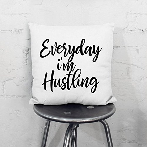 onepicebest Everyday I'm Hustling Pillow Cover, Hustling Pillow Cover, Pillow With Saying, Word Pillow Cover 18x18 by onepicebest