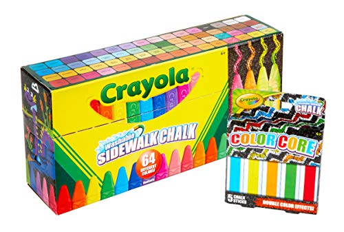 Walk Chalk - Crayola 64Count Sidewalk Chalk Set with 5Count Color Core, Amazon Exclusive, Easter Basket Stuffers, Gift for Kids