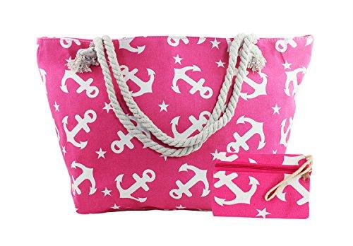 Angelina - Borsa da spiaggia / mare / shopper / da viaggio / per la piscina, grande, con zip, da indossare sulla spalla, per donna, con diversi motivi e colori e motivi Blu+Rosa Ancora Rosa