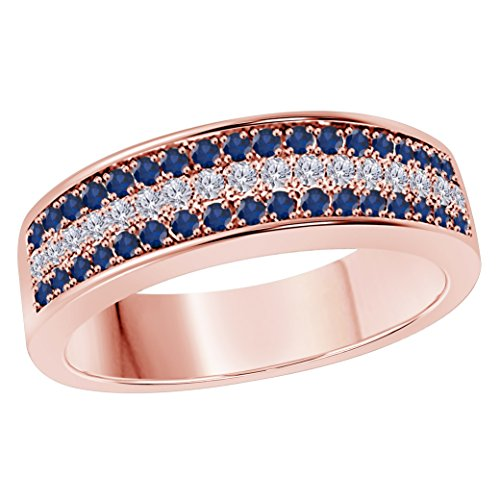 6MM 14K Rose Gold Finish .925 Silver Plated 0.50CT Blue Sapphire & White Cz Diamond Ring 3 Row Pave Half Eternity Men's Wedding Band Ring Size All Available by Star Retail