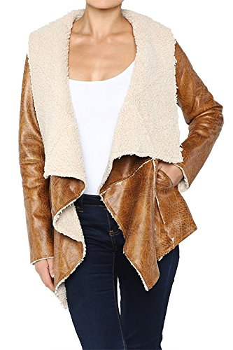 (Hot & Delicious Women's Faux Lambskin Leather Shearling Jacket Sherpa Lined Oversize Collar Coat (Small, Camel))