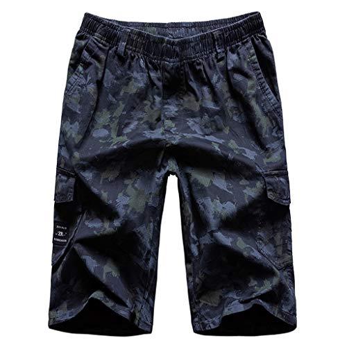 Men's Zipper Pocket Cotton Multi-Pocket Overalls Shorts Fashion Pant, Mmnote Dark Blue