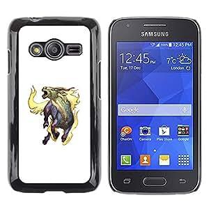 Shell-Star Arte & diseño plástico duro Fundas Cover Cubre Hard Case Cover para Samsung Galaxy Ace4 / Galaxy Ace 4 LTE / SM-G313F ( Goat Mythical Creature Fire Horns Unicorn Art )