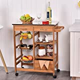 Bamboo Rolling Kitchen Island Trolley Cart Storage Shelf Drawers Basket Dining Review
