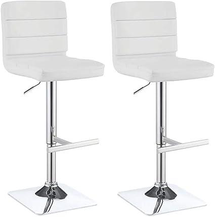 Bianco BAKAJI Set 2 Sgabelli Alto da Bar Cucina Seduta e Schienale in Ecopelle Eco Pelle Sgabello Base in Metallo Cromato con Poggiapiedi Altezza Regolabile Design Moderno