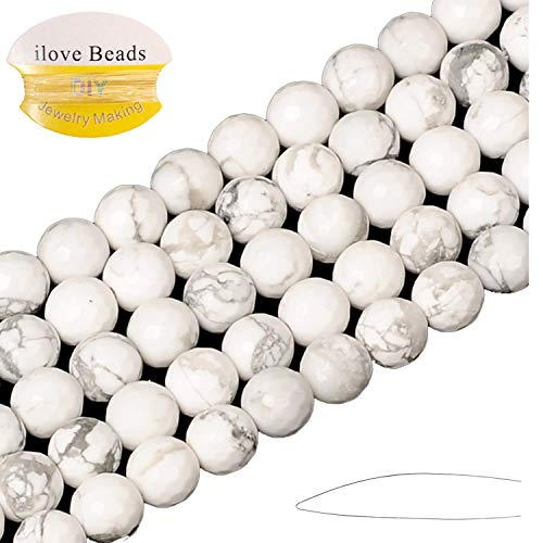 ILVBD Natural Faceted White Howlite Stone Beads 4/6/8/10/12MM Loose Beads  for Jewelry Making One Strand 15