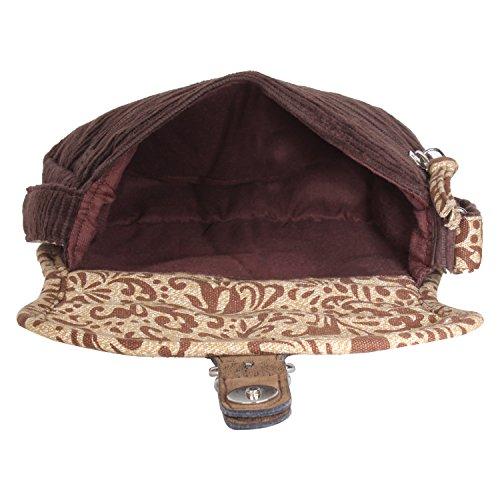 borsa in donna e da Cioccolata a assortita di capriccioso stampata coste Velluto tracolla tela a Anekaant Ixwq8P0Bf