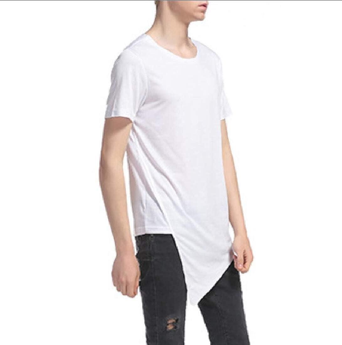 BSTBUWIN Men Crew Neck Tee Asymmetrical Short Sleeve Hip-Hop Solid T Shirt