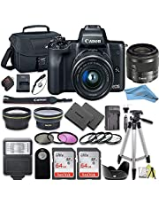 Canon EOS M50 Mirrorless Camera Kit with 15-45mm Lens + 2pc SanDisk 64GB Memory Cards + Accessory Kit