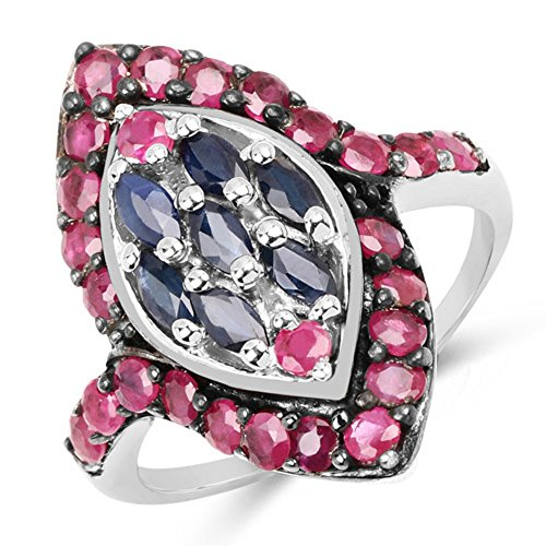 Genuine Marquise Blue Sapphire and Ruby Ring in Sterling Silver - Size ()