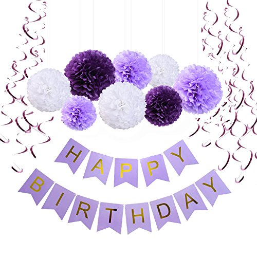 Sopeace Happy Birthday Banner Bunting Purple Set - Birthday Party Decorations Banner - Garlands Tissue Paper Pom Poms flowers Ball - Hanging Swirls for DIY Happy Birthday Decorations -