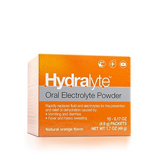 Hydralyte - Oral Electrolyte Powder, On-the-go Hydration Formula (Orange, 10 Count)